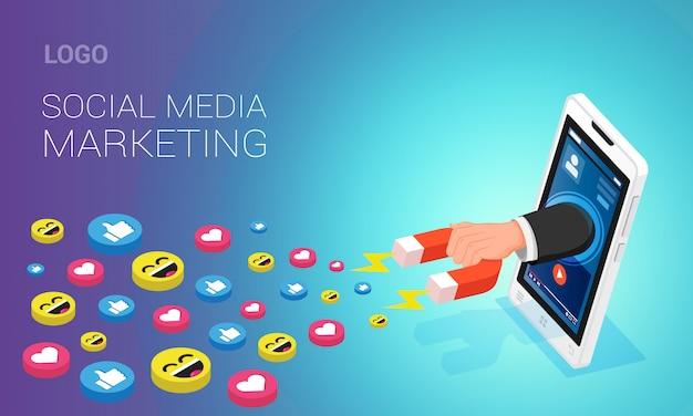 Układ strony docelowej marketingu w mediach społecznościowych. ludzka ręka przyciąga lubi na ekranie telefonu komórkowego za pomocą magnesu, isometric ilustracja