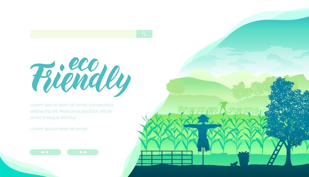 Układ strony głównej sklepu z produktami ekologicznymi i naturalnymi. baner internetowy turystyki ekologicznej z miejsca na tekst.