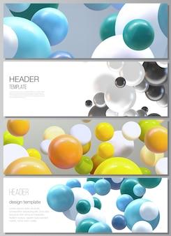 Układ szablonów banerów nagłówków z wielokolorowymi kulami 3d kulki bąbelki