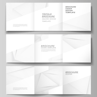 Układ szablonów kwadratowych okładek dla potrójnej broszury, ulotki, czasopisma, projektu okładki, projektu książki, okładki broszury. dekoracja z efektem rastra w kropki. kropkowane pop-art wzór dekoracji