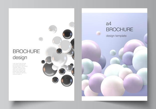 Układ szablonów makiet okładek a4 do broszury, układu ulotki, broszury, projektu okładki, projektu książki, okładki broszury. realistyczne tło z wielobarwnymi sferami 3d, bąbelkami, kulkami.