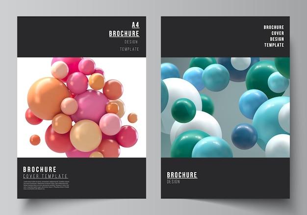 Układ szablonów makiet okładek a4 do broszury
