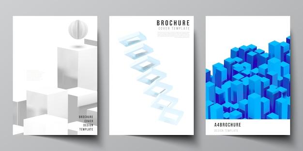Układ szablonów okładek a4 do broszury, układ ulotki, broszury, projekt okładki, projekt książki. 3d render kompozycji z dynamicznymi realistycznymi geometrycznymi niebieskimi kształtami w ruchu.