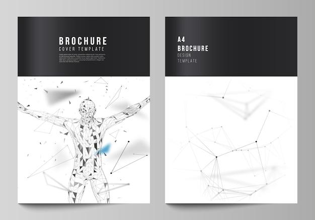 Układ szablonów okładek w formacie a4 obejmuje szablony broszur, ulotek, raportów. technologia, nauka, koncepcja medyczna