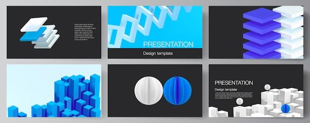 Układ szablonów projektów slajdów prezentacji, szablon broszury prezentacyjnej, okładka broszury, raport biznesowy. 3d render kompozycji z dynamicznymi geometrycznymi niebieskimi kształtami w ruchu.
