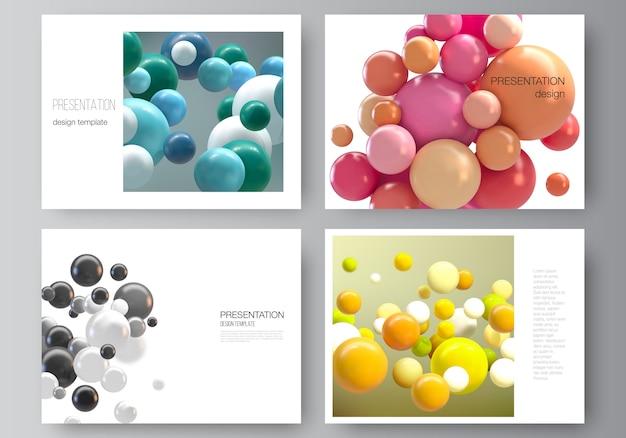 Układ szablonów projektów slajdów prezentacji, uniwersalny szablon do broszury prezentacyjnej, raport biznesowy. streszczenie futurystyczne tło z kolorowych kulek 3d, błyszczące bąbelki, kulki.