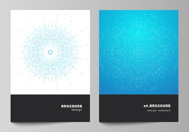 Układ szablonów projektu nowoczesnej okładki w formacie a4 do broszury, czasopisma, ulotki, broszury, raportu. wizualizacja big data, geometryczne tło komunikacyjne z połączonymi liniami i kropkami