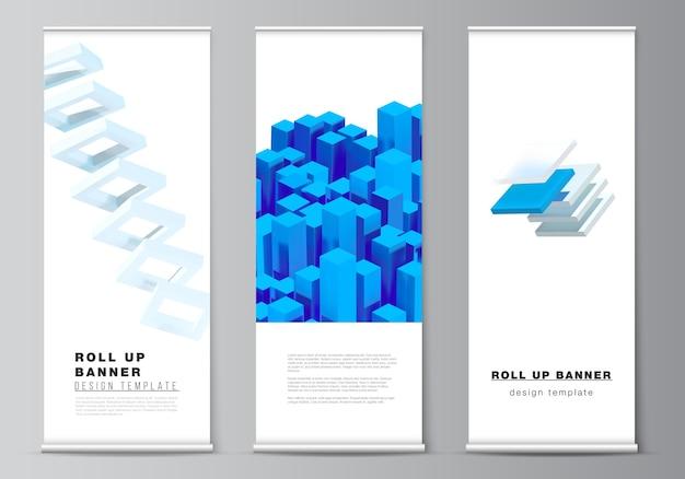Układ szablonów roll up dla ulotek pionowych, szablonów projektów flag, stojaków banerowych, reklam. 3d render kompozycji z dynamicznymi realistycznymi geometrycznymi niebieskimi kształtami.