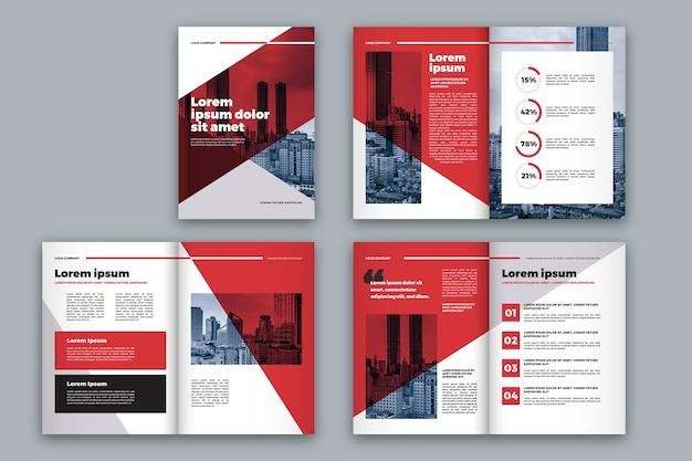 Układ szablonu broszura czerwony i biały