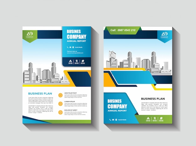 Układ szablonu broszury obejmuje ulotkę lub broszurę z raportem rocznym w formacie a4