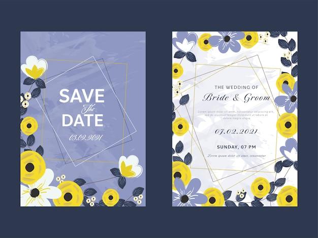 Układ szablonu karty zaproszenie na ślub kwiatowy w dwóch opcjach
