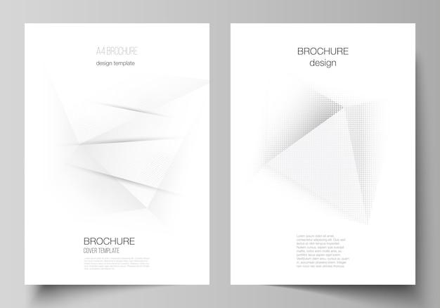 Układ szablonu projektu makiety okładki a4 dla broszury, układ ulotki, broszury, projekt okładki, projekt książki, okładka broszury. dekoracja z efektem rastra w kropki. kropkowane pop-art wzór dekoracji
