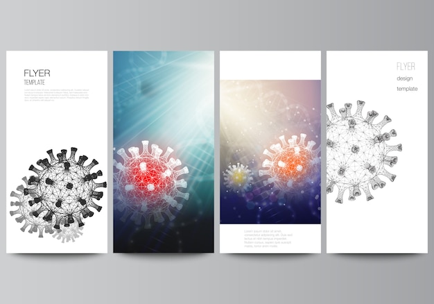 Układ ulotki, szablon projektu baneru do projektu reklamy internetowej, ulotka pionowa, dekoracja strony internetowej. 3d tło medyczne wirusa koronowego. covid 19, zakażenie koronawirusem. koncepcja wirusa