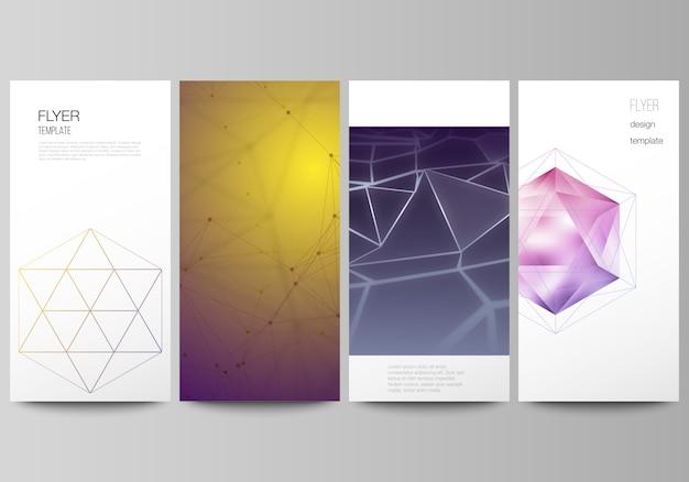 Układ ulotki, szablony banerów, 3d wielokątne geometryczne nowoczesne