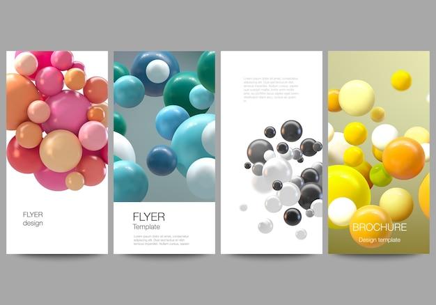 Układ ulotki, szablony banerów do projektowania reklamy internetowej, projekt ulotki pionowej, dekoracja strony internetowej. streszczenie futurystyczne tło z kolorowych kulek 3d, błyszczące bąbelki, kulki.