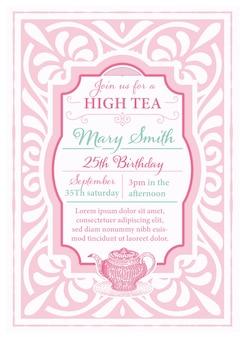 Układ vintage herbata zaproszenie