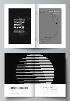 Układ wektorowy dwóch szablonów makiet a4 dla broszur bifold, ulotki, projekt okładki, projekt książki. streszczenie technologia czarny kolor nauki tła. cyfrowe dane. minimalistyczna koncepcja zaawansowanych technologii.