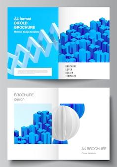 Układ wektorowy dwóch szablonów makiety okładki a4 dla bifold broszury, ulotki, czasopisma, projekt okładki, projekt książki. 3d render kompozycji wektorowej z dynamicznymi realistycznymi geometrycznymi niebieskimi kształtami w ruchu.
