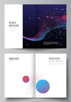 Układ wektorowy dwóch szablonów makiety okładki a4 dla bifold broszury, ulotki, czasopisma, projekt okładki, projekt książki. sztuczna inteligencja, wizualizacja big data. koncepcja technologii komputera kwantowego.