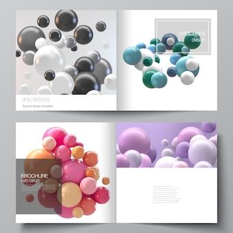 Układ wektorowy dwóch szablonów okładek dla broszury kwadratowej bifold