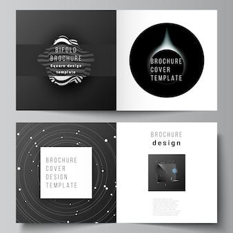 Układ wektorowy dwóch szablonów okładek dla kwadratowej broszury bifold, ulotki, czasopisma, projektu okładki, projektu książki, okładki broszury. tech nauki przyszłe tło, koncepcja astronomii kosmicznej.