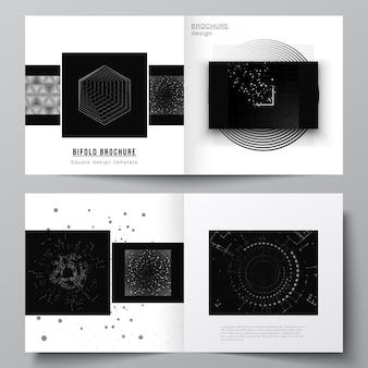 Układ wektorowy dwóch szablonów okładek do broszury bifold kwadratowych, ulotki, projekt okładki, projekt książki. czarny kolor tła technologii. cyfrowa wizualizacja nauki, medycyny, koncepcji technologicznej.