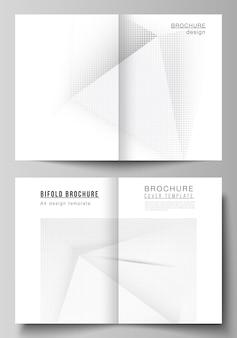 Układ wektorowy dwóch szablonów projektu okładki a4 dla broszury bifold, ulotki, projektu okładki, projektu książki, okładki broszury. dekoracja z efektem półtonów z kropkami. kropkowana ozdoba wzór pop-artu.