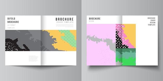 Układ wektorowy dwóch szablonów projektu okładki a4 dla broszury bifold, ulotki, projektu okładki, projektu książki, okładki broszury. japoński wzór szablonu. dekoracja tła krajobrazu w stylu azjatyckim.