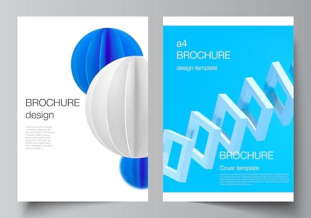 Układ wektorowy makiet okładek a4 do broszury. 3d render kompozycji wektorowej z dynamicznymi realistycznymi geometrycznymi niebieskimi kształtami