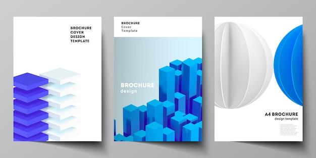Układ wektorowy szablonów makiet okładki a4 dla broszury, układu ulotki, broszury, projektu okładki, projektu książki. 3d render kompozycji wektorowej z dynamicznymi realistycznymi geometrycznymi niebieskimi kształtami w ruchu.