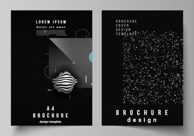 Układ wektorowy szablonów makiet okładki a4 dla broszury, układu ulotki, broszury, projektu okładki, projektu książki. streszczenie technologia czarny kolor nauki tła. cyfrowe dane. minimalistyczna zaawansowana technologia.