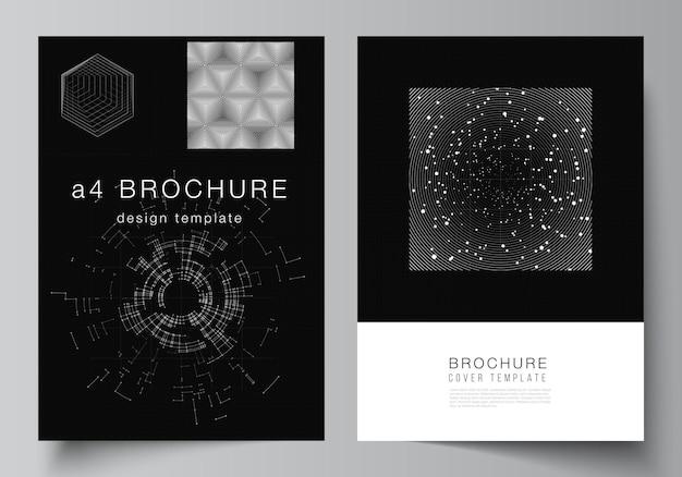 Układ wektorowy szablonów projektów okładek a4 dla broszury, układu ulotki, broszury, projektu okładki, projektu książki. czarny kolor tła technologii. cyfrowa wizualizacja nauki, medycyny, koncepcji technologicznej.