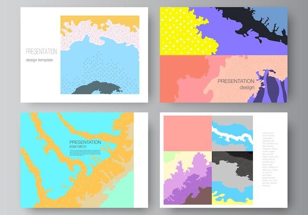 Układ wektorowy szablonów projektu slajdów prezentacji, uniwersalny szablon do prezentacji broszury, okładka broszury. japoński wzór szablonu. dekoracja tła krajobrazu w stylu azjatyckim.