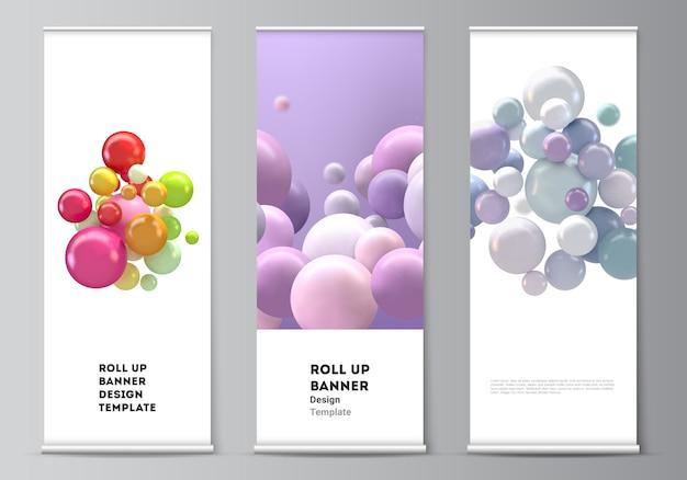 Układ zrolowanych szablonów ulotek pionowych, szablony flag, stojaki na banery, reklama. futurystyczne tło z kolorowe kulki 3d, błyszczące bąbelki, kulki