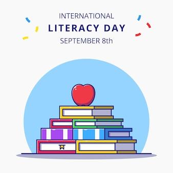 Układanie książek i ilustracja kreskówka jabłko obchody międzynarodowego dnia czytania i pisania.