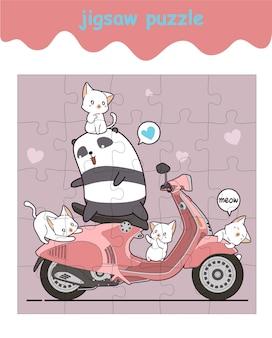 Układanka z pandą i kotami z motocyklem