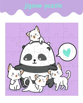 Układanka z pandą i kotami