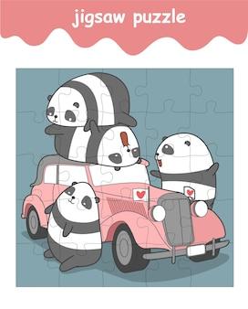 Układanka z pandami i zabytkowym samochodem