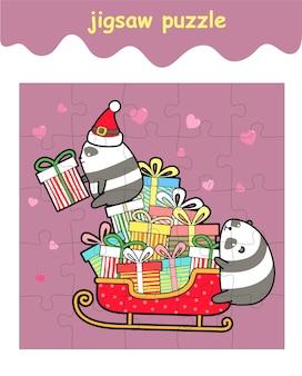 Układanka z pandami z pojazdem sań z prezentami
