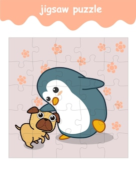 Układanka z pingwinem i psem