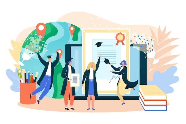 Ukończenie szkoły uniwersyteckiej online ilustracja wektorowa student ludzie charakter uzyskać edukację w...