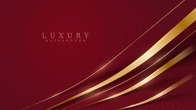 Ukośne złote linie błyszczą na czerwonym luksusowym tle, nowoczesna koncepcja projekt okładki, ilustracji wektorowych.