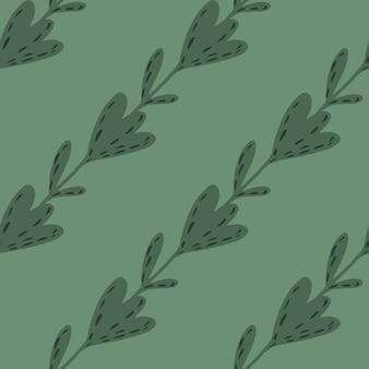 Ukośny wzór botaniczny z elementami kwiatów tulipana. zielony pastelowy ornament palety. ilustracja wektorowa dla sezonowych wydruków tekstylnych, tkanin, banerów, teł i tapet.
