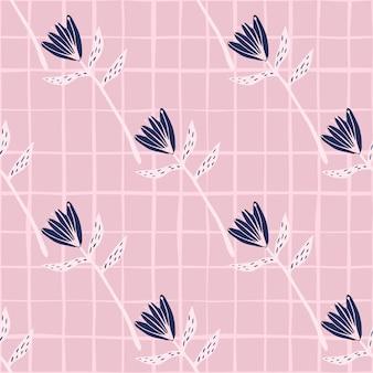 Ukośny wzór z kształtów kwiatów tulipanów. różowe tło w kratkę i granatowe pąki kwiatowe.