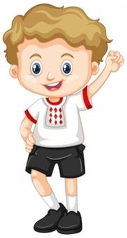 Ukraina chłopiec w białej koszuli