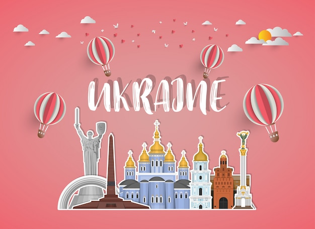Ukraina landmark global travel and journey papierowe tło.