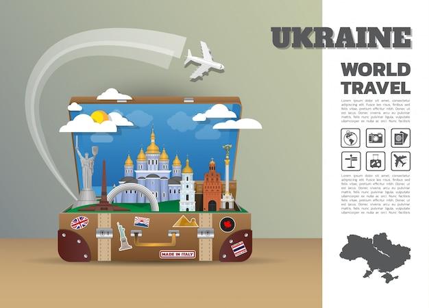 Ukraina punkt orientacyjny globalna podróż i podróż bagaż infographic. szablon projektu / ilustracja.