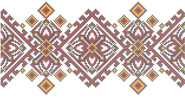 Ukraiński styl etniczny haft krzyżykowy wzór geometryczny.