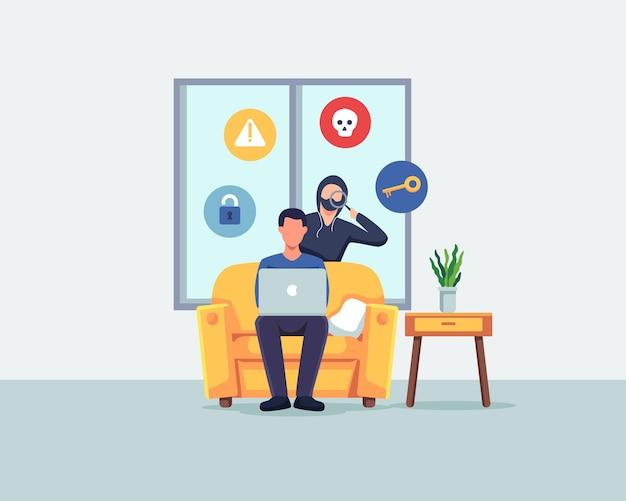 Ukraść ilustracja koncepcja danych. przestępca i złodziej włamujący się do komputera oraz kradnący dane i pieniądze. wektor w stylu płaskiej