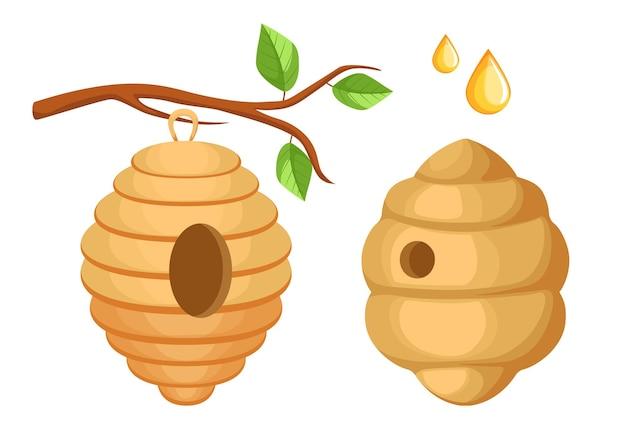 Ula pszczół wiszące na gałęzi drzewa, ula dzikich pszczół i krople miodu na białym tle. pasieka, dom rój